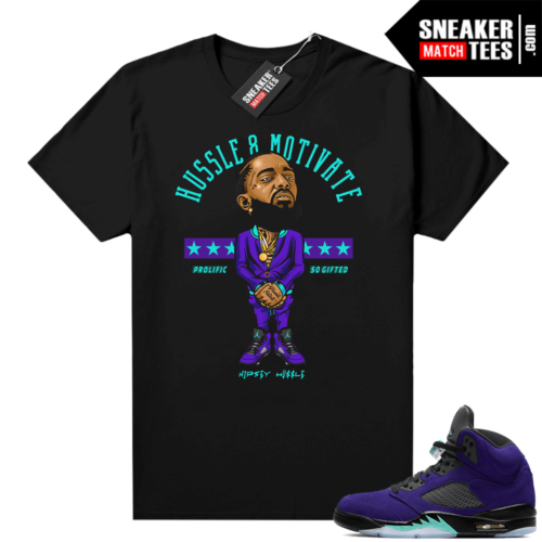 Jordan 5 Alternate Grape matching graphic tees
