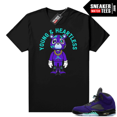 Jordan 5 Grape Alternate shirt black Young & Heartless Bear Toon