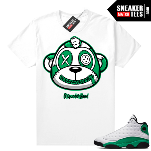 Misunderstood Monkey Lucky Green 13s White Shirt