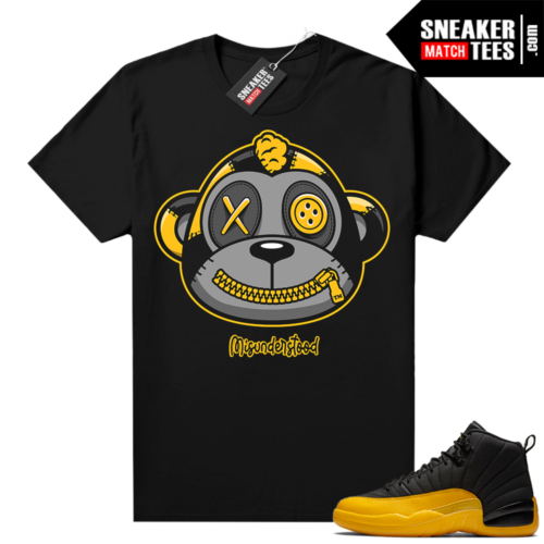 Misunderstood Monkey University Gold 12s Black Shirt
