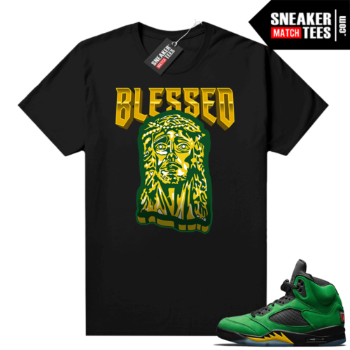 Oregon 5s Sneaker tees Black Blessed Jesus Piece