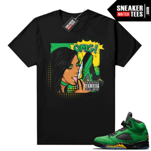 Sneaker tee shirts Jordan retro 5 Apple Green