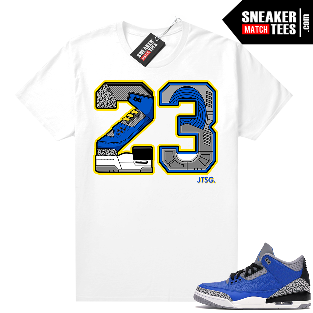 Varsity Blue Cement 3s shirts to match sneakers
