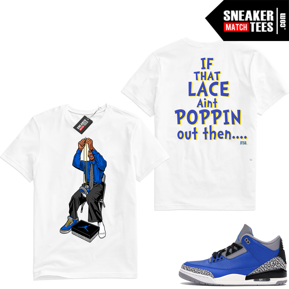 Varsity Blue Cement 3s matching sneaker tees