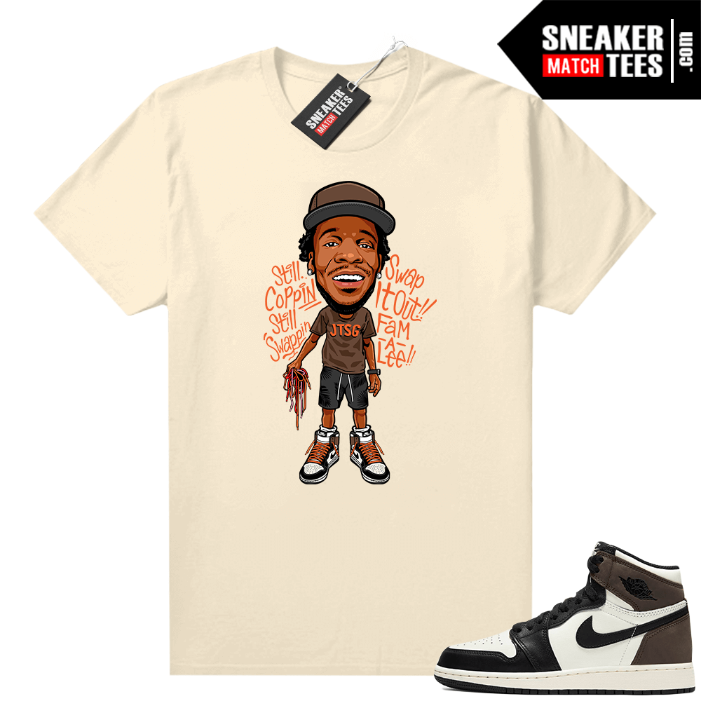 Jordan 1 Mocha shirts Sail Jay the Sneaker Guy Toon Orange Lace