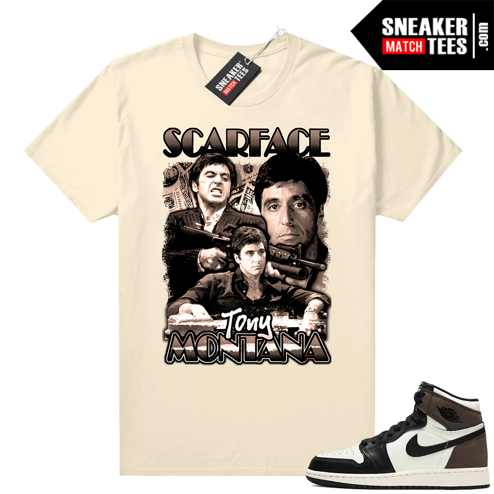 Jordan 1 Mocha shirts Sail Scarface Vintage Movie