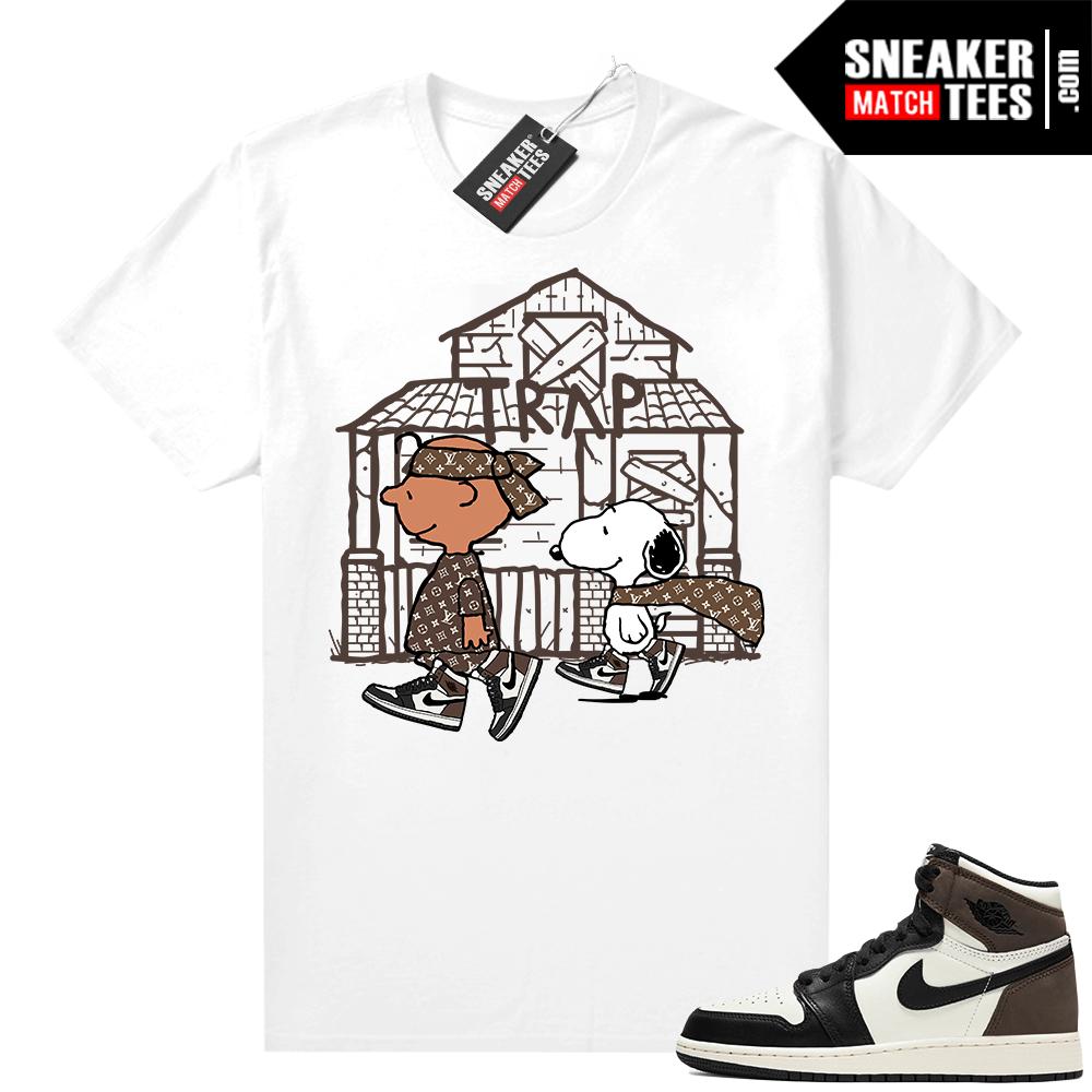 Jordan 1 Mocha shirts White Snoopy Trap House
