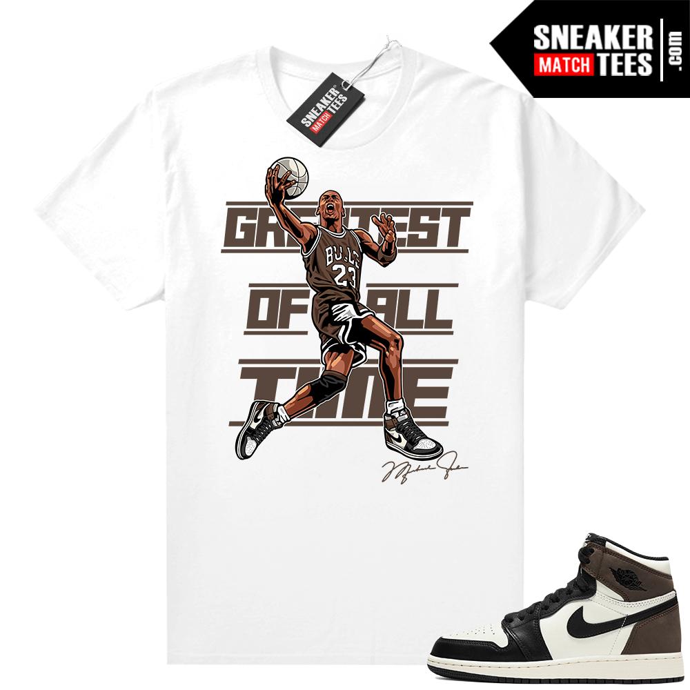 Jordan 1 Mocha shirts White The Greatest Of All time V2