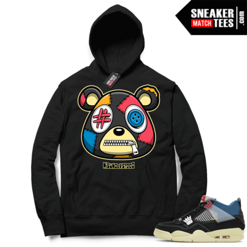 Match Jordan 4 Union OFF Noir Sneaker Match Hoodie Misunderstood Bear Black