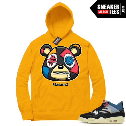 Match Jordan 4 Union OFF Noir Sneaker Match Hoodie Misunderstood Bear Gold