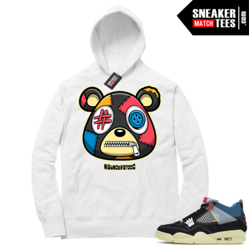 Match Jordan 4 Union OFF Noir Sneaker Match Hoodie Misunderstood Bear White