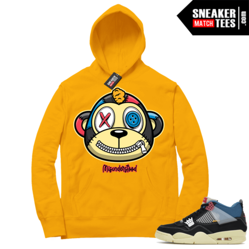 Match Jordan 4 Union OFF Noir Sneaker Match Hoodie Misunderstood Monkey Gold