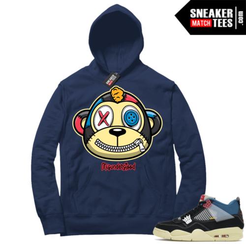Match Jordan 4 Union OFF Noir Sneaker Match Hoodie Misunderstood Monkey Navy