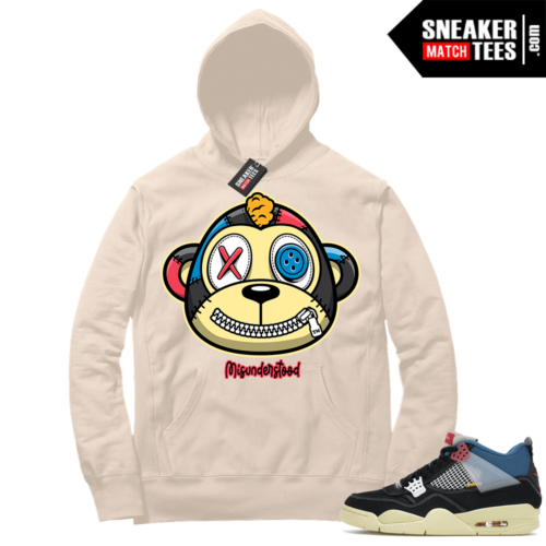 Match Jordan 4 Union OFF Noir Sneaker Match Hoodie Misunderstood Monkey Sail