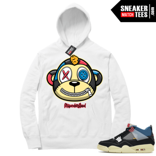 Match Jordan 4 Union OFF Noir Sneaker Match Hoodie Misunderstood Monkey White