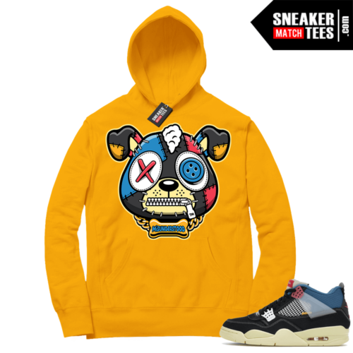 Match Jordan 4 Union OFF Noir Sneaker Match Hoodie Misunderstood Puppy Gold