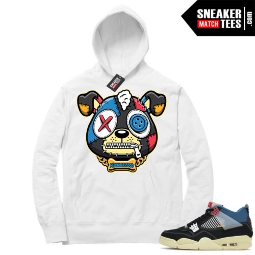 Match Jordan 4 Union OFF Noir Sneaker Match Hoodie Misunderstood Puppy White