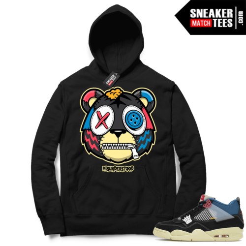 Match Jordan 4 Union OFF Noir Sneaker Match Hoodie Misunderstood Tiger Black