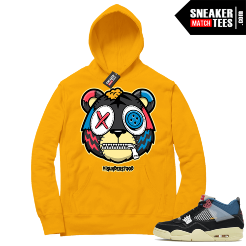 Match Jordan 4 Union OFF Noir Sneaker Match Hoodie Misunderstood Tiger Gold
