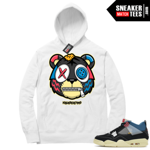 Match Jordan 4 Union OFF Noir Sneaker Match Hoodie Misunderstood Tiger White
