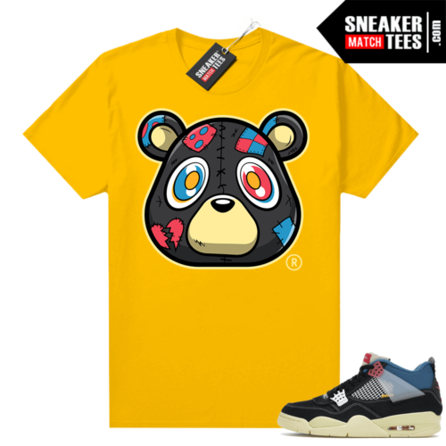 Match Jordan 4 Union OFF Noir Sneaker Match Tees Heartless Bear Gold