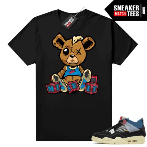 Match Jordan 4 Union OFF Noir Sneaker Match Tees Misfit Teddy Black