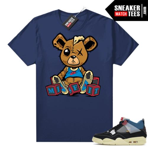 Match Jordan 4 Union OFF Noir Sneaker Match Tees Misfit Teddy Navy