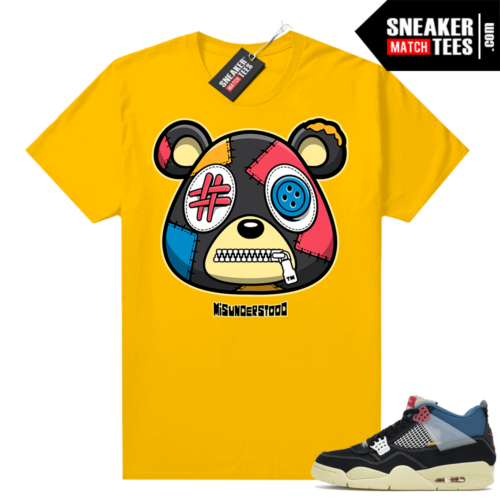 Match Jordan 4 Union OFF Noir Sneaker Match Tees Misunderstood Bear Gold