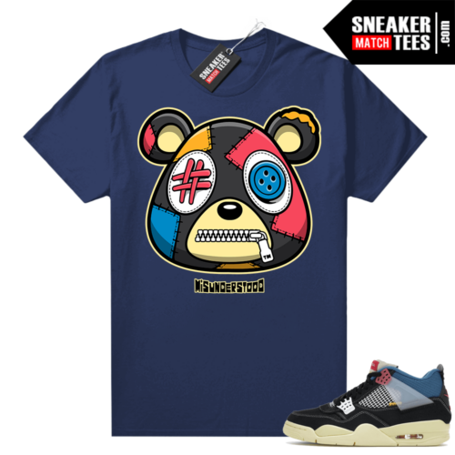 Match Jordan 4 Union OFF Noir Sneaker Match Tees Misunderstood Bear Navy