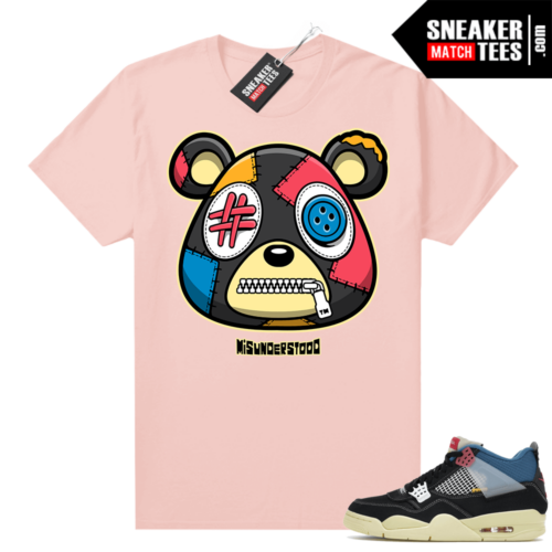 Match Jordan 4 Union OFF Noir Sneaker Match Tees Misunderstood Bear Pink