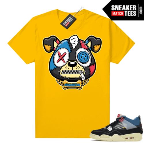Match Jordan 4 Union OFF Noir Sneaker Match Tees Misunderstood Puppy Gold