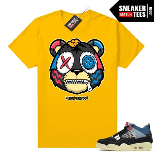 Match Jordan 4 Union OFF Noir Sneaker Match Tees Misunderstood Tiger Gold