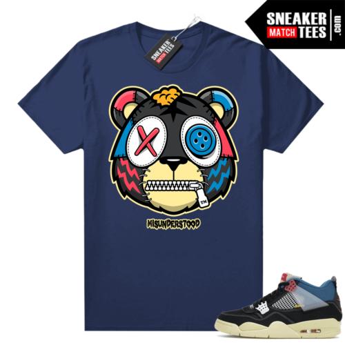 Match Jordan 4 Union OFF Noir Sneaker Match Tees Misunderstood Tiger Navy