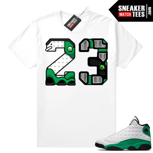 Match Lucky Green 13s Jordan Match Tees Shirt White 23