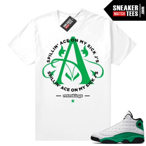 Match Lucky Green 13s Jordan Match Tees Shirt White Ace Sick Jays