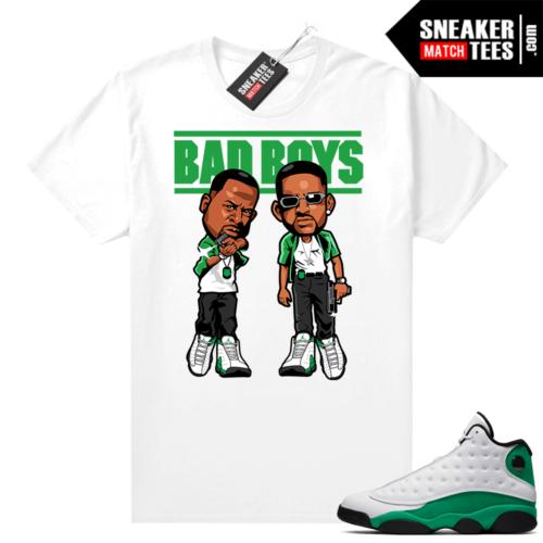Match Lucky Green 13s Jordan Match Tees Shirt White Bad Boys