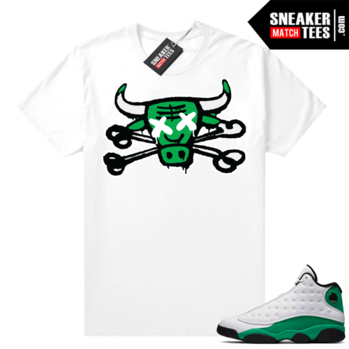 Match Lucky Green 13s Jordan Match Tees Shirt White Bully Bones