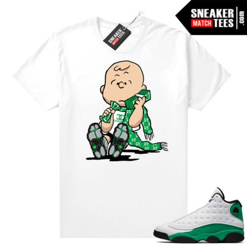 Match Lucky Green 13s Jordan Match Tees Shirt White Charlie Brown