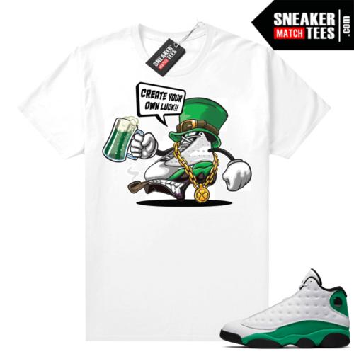 Match Lucky Green 13s Jordan Match Tees Shirt White Create Your Luck