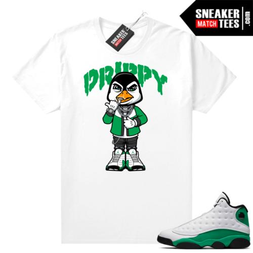 Match Lucky Green 13s Jordan Match Tees Shirt White Drippy Penguin