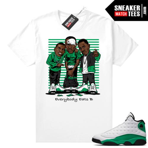 Match Lucky Green 13s Jordan Match Tees Shirt White Everybody Eats B