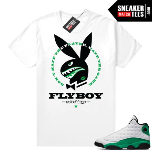 Match Lucky Green 13s Jordan Match Tees Shirt White Fly Boy