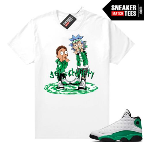 Match Lucky Green 13s Jordan Match Tees Shirt White Get Schwifty