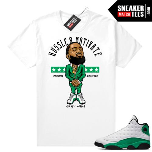 Match Lucky Green 13s Jordan Match Tees Shirt White Hussle Motivate