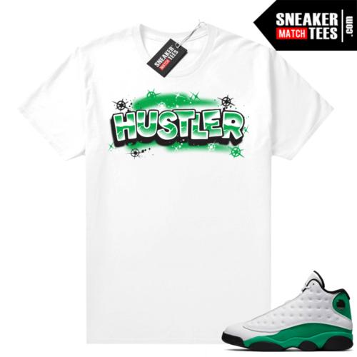 Match Lucky Green 13s Jordan Match Tees Shirt White Hustler