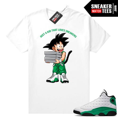 Match Lucky Green 13s Jordan Match Tees Shirt White Just A Kid