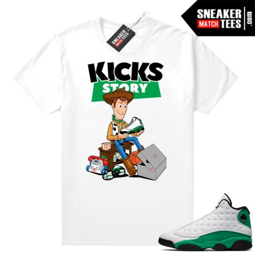 Match Lucky Green 13s Jordan Match Tees Shirt White Kicks Story