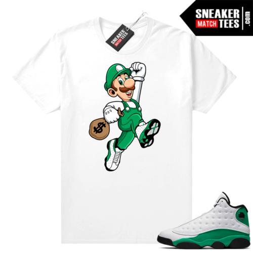 Match Lucky Green 13s Jordan Match Tees Shirt White Luigi Money Bag