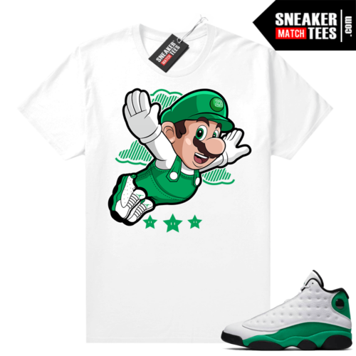 Match Lucky Green 13s Jordan Match Tees Shirt White Mario Fly