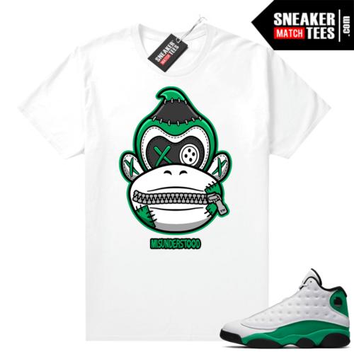 Match Lucky Green 13s Jordan Match Tees Shirt White Misunderstood Donkey